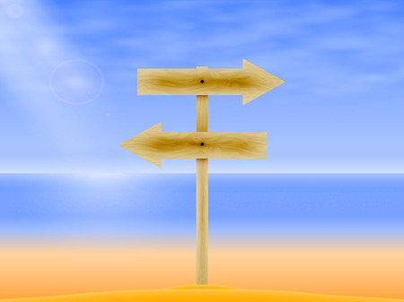 ligneous: Vector illustration of a wooden rail road arrow on the background of the sea. Wooden board with a direction. Wooden signpost. Illustration
