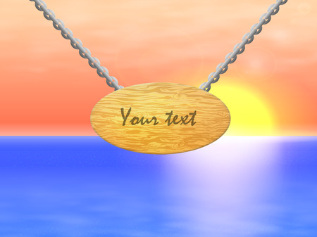 facia: Vector illustration of a wooden sign with chain on a background of the sea and the sunset. Illustration