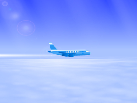 vapor trail: Vector illustration of the plane in the sky. Flying above the clouds airplane. Plane leaving a white trail behind him. Tourist plane.
