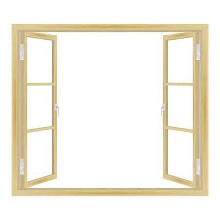 Vector illustration of open wooden window isolated on white background.
