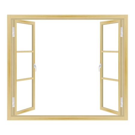 Vector illustration of open wooden window isolated on white background. Vector Illustration