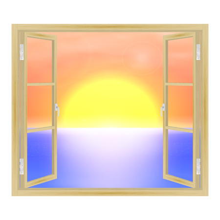 overlooking: Vector illustration of open wooden window overlooking the sea and the sunset. View from the window.