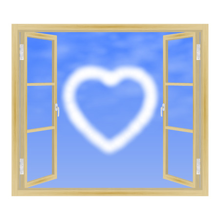 view window: Vector illustration of open wooden window with a view of the clouds in the form of heart. View from the window.