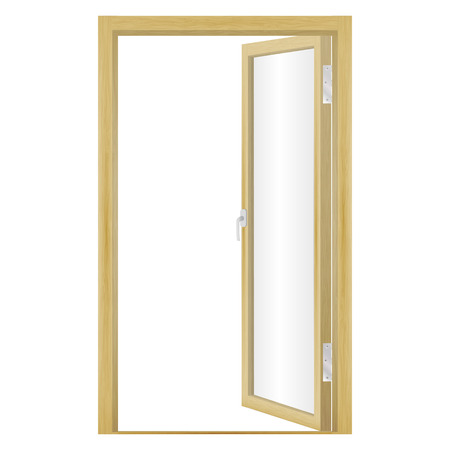 unbar: Vector illustration of an open wood door isolated on a white background. Glass door. Illustration