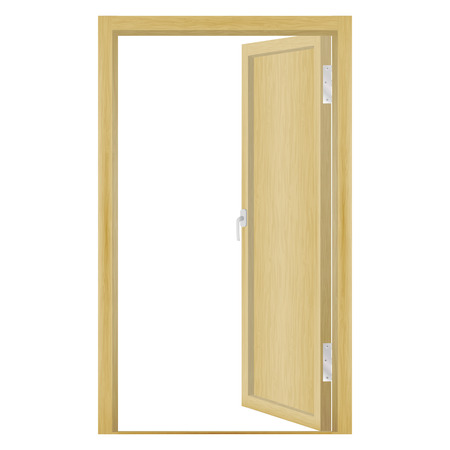 unbar: Vector illustration of an open wood door isolated on a white background.