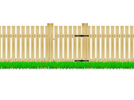 paling: Vector illustration of a wooden fence with the door on the green grass. On an isolated white background.