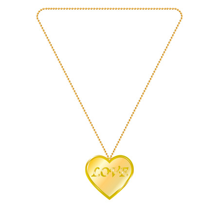 lavaliere: Vector illustration of gold jewelry in the form of heart on a chain. Golden pendant. On an isolated white background. Inscription love.