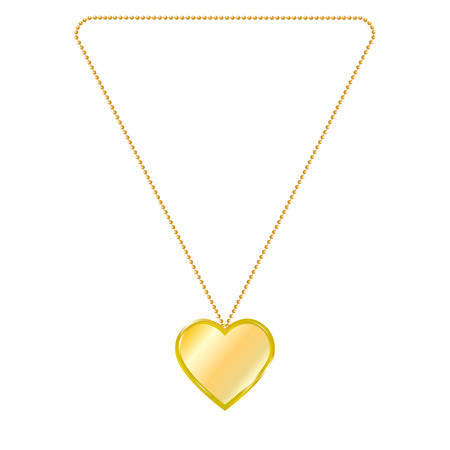 Vector illustration of gold jewelry in the form of heart on a chain. Golden pendant. On an isolated white background.