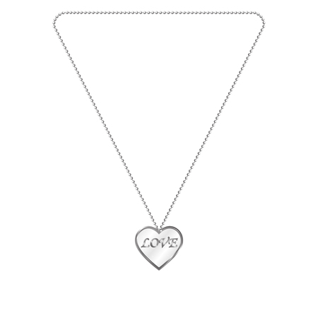 lavaliere: Vector illustration of silver jewelery in the form of heart on a chain. Silver pendant. On an isolated white background. Inscription love.