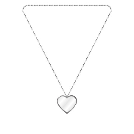 shiny argent: Vector illustration of silver jewelery in the form of heart on a chain. Silver pendant. On an isolated white background.