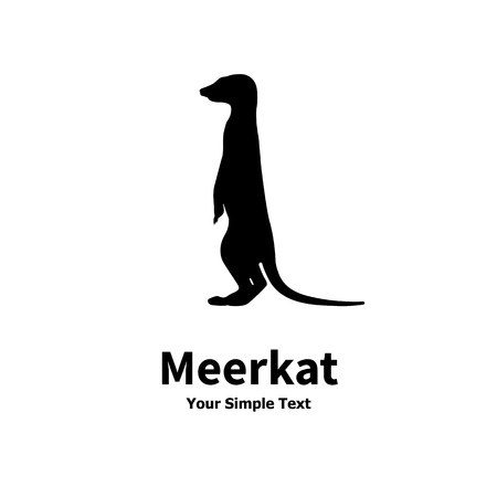 Vector illustration of a silhouette standing meerkat isolated on white background. Meerkats side view profile. Çizim