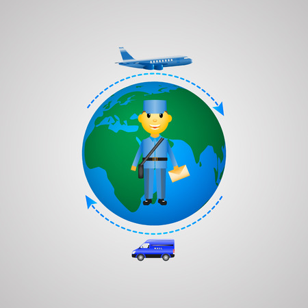 sending: Vector illustration of the concept of mail delivery. Infographics sending letters.
