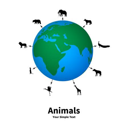 Vektor-Illustration des Konzepts der Tierschutz. Silhouetten von Tieren auf dem Hintergrund des Planeten. Schutz von Tieren.