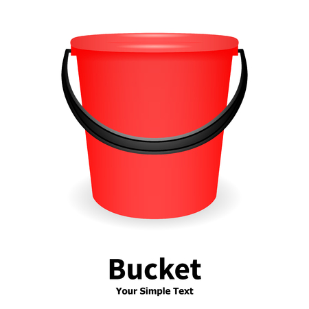 handgrip: Vector illustration of red bucket isolated on white background. Plastic bucket with a black handle. Bucket for watering. Illustration