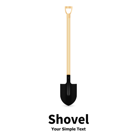 bayonet: Vector illustration of a shovel on a white background. Bayonet shovel with a wooden handle. Shovel for digging and building land. Illustration