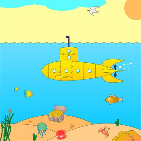 Vector illustration of a submarine at sea. Cartoon submarine under the water.