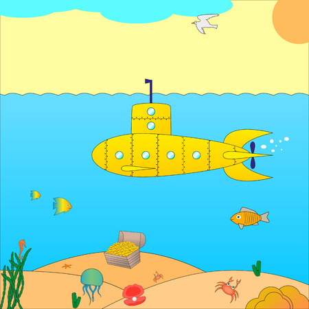 subaqueous: Vector illustration of a submarine at sea. Cartoon submarine under the water.