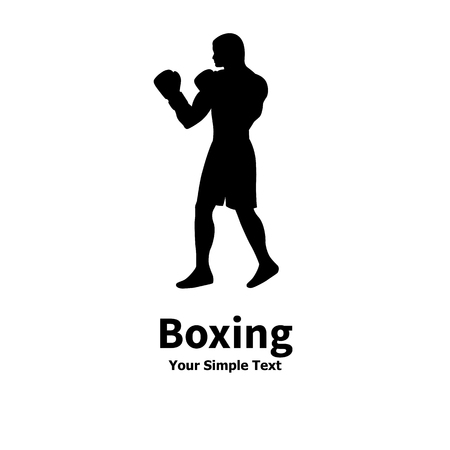 pugilism: Vector illustration of a silhouette of a boxer isolated on white background. The concept of sports boxing. Boxer is a side view profile.