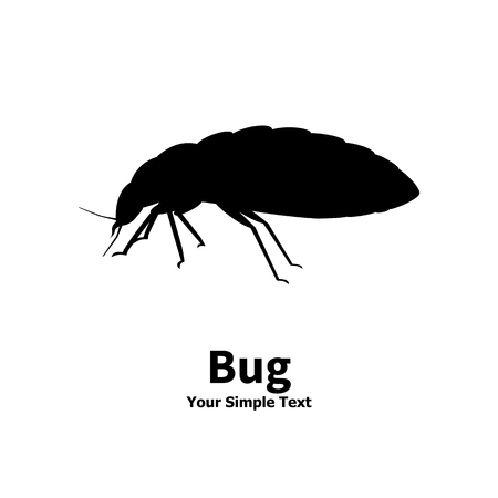 Vector illustration silhouette bed bug isolated on white background. Bedbug side view profile. The insect lives in the house.  イラスト・ベクター素材
