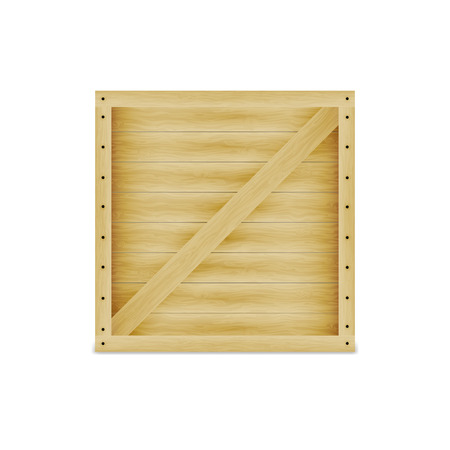wooden texture: Vector illustration of a closed wooden box. On an isolated white background. Crate with nails. Illustration