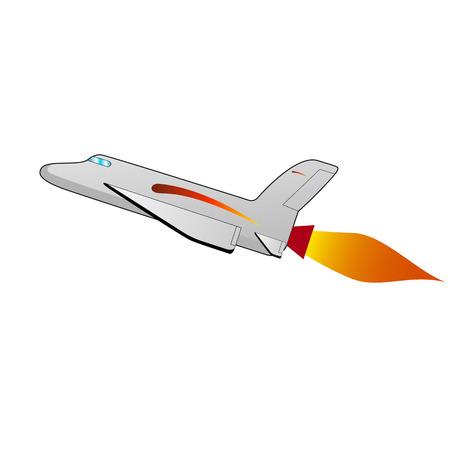 Vector illustratie van een cartoon space shuttle. Geïsoleerde witte achtergrond. Ruimtevaartuig, ruimteschip zijaanzicht profiel.