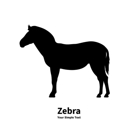 side view: Vector illustration silhouette of zebra isolated on white background. Zebra side view profile.