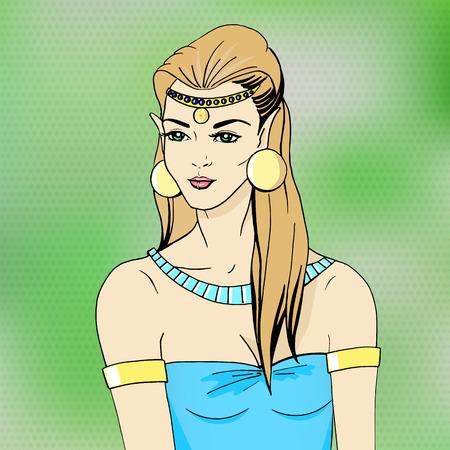 Vector illustration portrait of an elven princess. Forest beautiful girl elf. Illustration