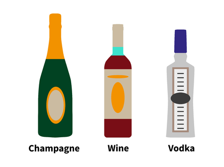 intoxication: Vector illustration of the concept of strong drinks. Alcohol in a bottle of champagne, wine and vodka isolated on white background. Style flat.