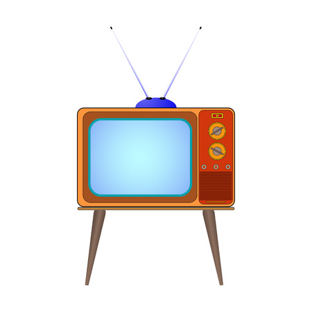 Vector illustration cartoon old TV on the legs with the antenna. Isolated on white background. Çizim
