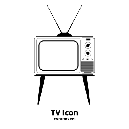 televisor: Vector illustration old retro TV icon isolated on a white background.