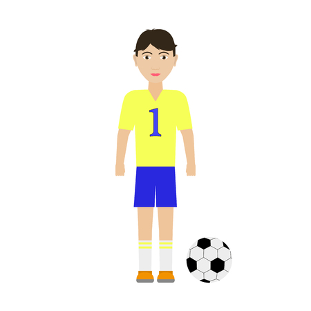 Vector illustration of a boy soccer player with a soccer ball. Isolated white background. Flat style. Children football. Illustration