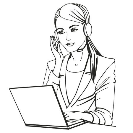 girl laptop: Vector illustration of a secretary with headphones and microphone sitting at a laptop. Doodle drawing isolated on a white background. The concept of the center of the phone call.
