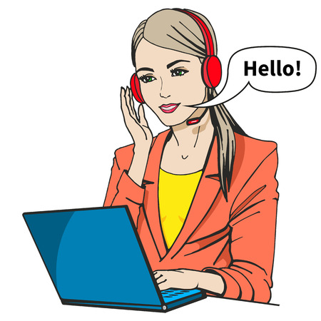telephonist: Vector illustration of a secretary with headphones and microphone sitting at a laptop. Isolated on a white background. Call center operator says hello. Illustration