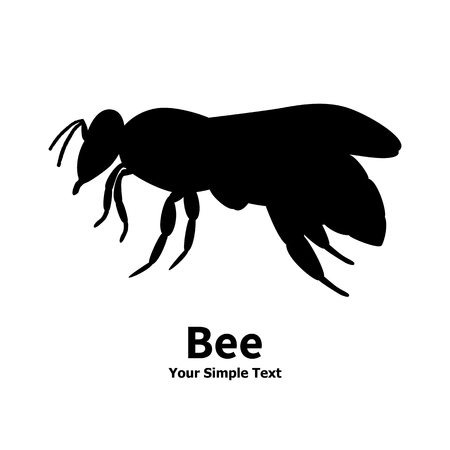 hexapod: Vector illustration of a silhouette of a black bee on an isolated white background. Bee side view profile.