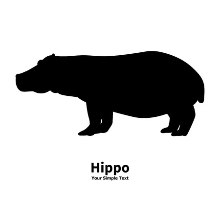 behemoth: Vector illustration of black silhouette of a hippopotamus isolated on a white background. Behemoth is a side view profile.