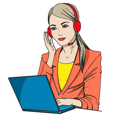 telephonist: Vector illustration of a secretary with headphones and microphone sitting at a laptop. Isolated on a white background. The concept of the center of the phone call.