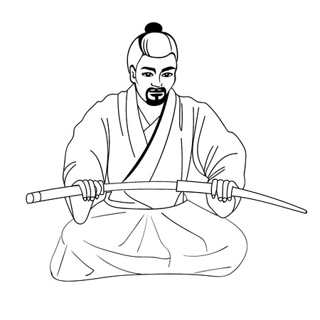 Vector illustration of a Japanese samurai sitting on his lap and holding a sword. Isolated white background. The concept of harakiri. Illustration
