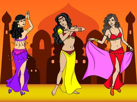 Ilustración del vector del bailarín de la muchacha oriental. Oriental danza de la ciudad. El concepto de vientre y bailes de Bollywood.