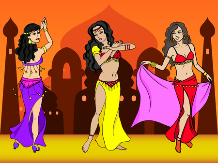 Vector illustration of eastern girl dancer. Oriental City Dance. The concept of belly and Bollywood dancing.