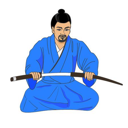 ronin: Vector illustration of a Japanese samurai ronin preparing for seppuku. Isolated white background. The concept of hara-kiri. Illustration