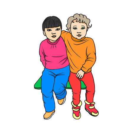 Vector illustration of two little cute beautiful child sitting on the bench. Cartoon picture isolated on white background. The concept childhood friendship.