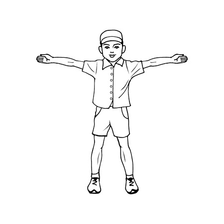 outstretched: illustration of a boy standing with arms outstretched. Doodle picture on an isolated white background. Illustration