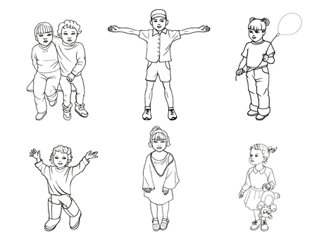 boy smiling: illustration of a set of children. Doodle picture on an isolated white background. The concept of the protection of children. Illustration