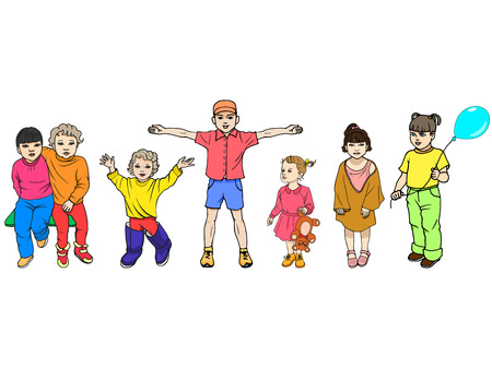 illustration set of colorful children isolated on white background. The concept of 1 September, the protection of children, day knowledge.