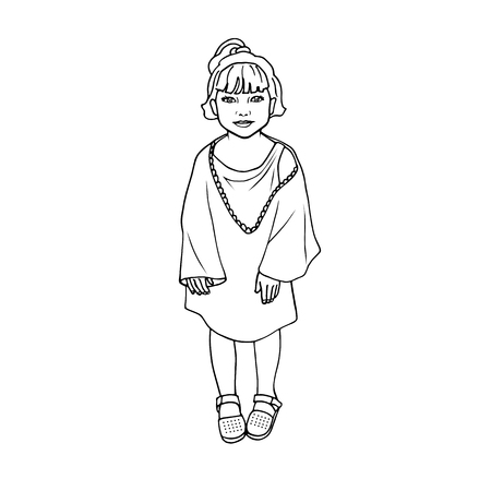 illustration doodle drawing little poor girl isolated on white background.