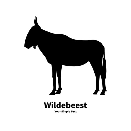 brute: illustration of black silhouette of wildebeest on the isolated white background. Wildebeest side view profile.