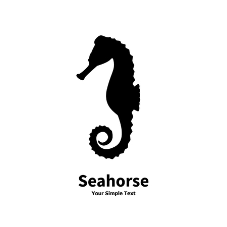Vector illustration of black silhouette of a sea horse isolated on white background. Seahorse side view profile.