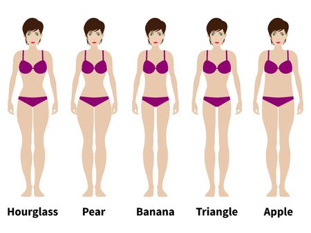 physique: Vector illustration of five types of female figures. Women physique. Isolated on white background. A variation of the female body.