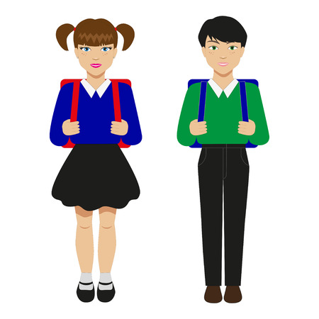 scholastic: Vector illustration of two children with schoolbags. Pupils isolated on white background.