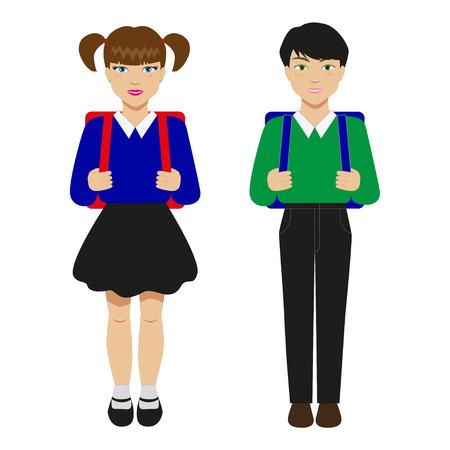 žák: Vektorové ilustrace dvě děti s Školní brašny. Žáci na bílém pozadí. Ilustrace